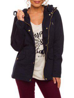 Hooded Drawstring Pocket Design Jacket - Cadetblue M