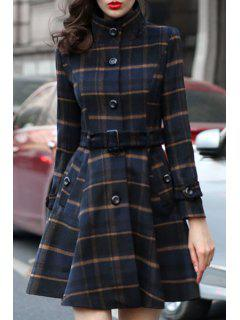 Stand Neck Plaid Skirt Coat - Blue 2xl