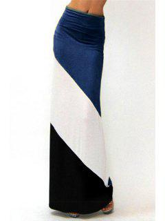 Hit Color High Waisted Skirt - Blue L