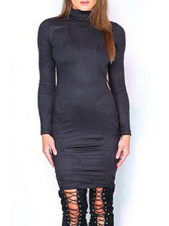 Open Back Turtle Neck Long Sleeve Dress - Black S
