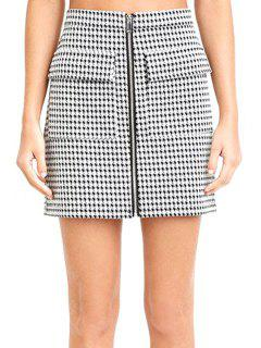Houndstooth Pattern High Waisted Skirt - White And Black S