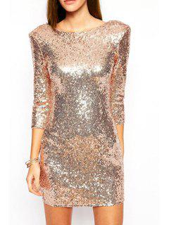 Sequins Scoop Neck 3/4 Sleeve Dress - Golden Xl