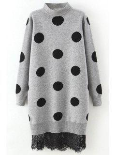 Polka Dot Lace Trim Sweater Dress - Gray