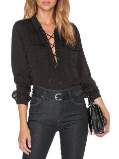 Lace-Up Turn Down Collar Long Sleeve Shirt - Black S