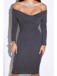 Crossed Solid Color Off The Shoulder Dress - Gray Xl