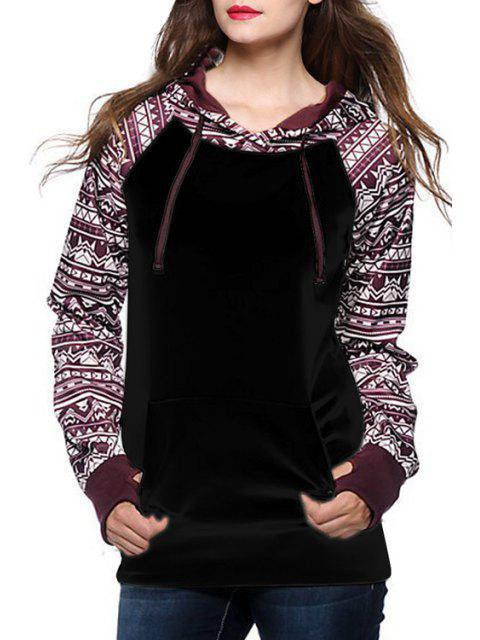 hot Ethnic Print Spliced Long Sleeve Pullover Hoodie - BLACK M Mobile