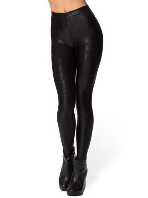 latest Fish Scale Print Sexy Bodycon Leggings - BLACK XL Mobile