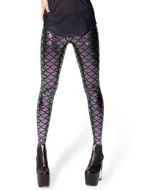 hot Fish Scale Print Sexy Bodycon Leggings - VIOLET S Mobile