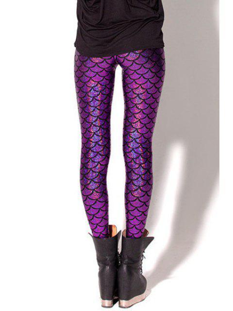 shops Fish Scale Print Sexy Bodycon Leggings - PURPLE S Mobile