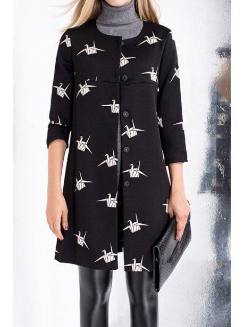 shops Paper Crane Single-Breasted Trench Coat - BLACK M Mobile
