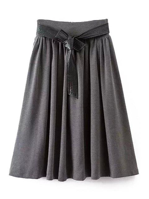 chic A-Line Self-Tie Belt Midi Skirt - GRAY L Mobile