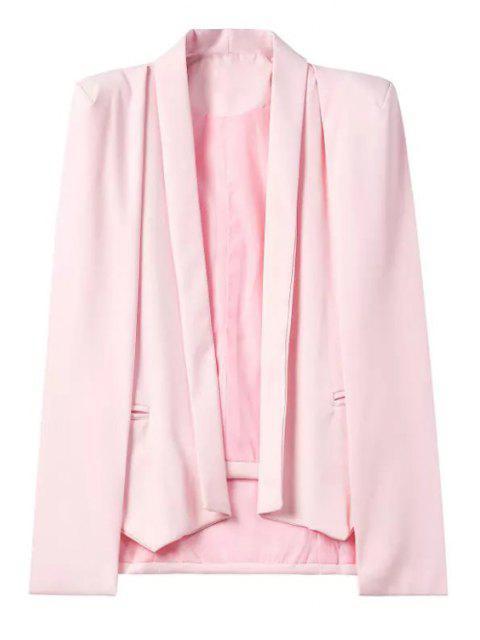 fashion Shawl Neck Cape Design Pink Blazer - PINK M Mobile