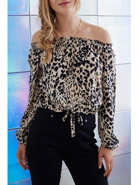 Leopard Print Off The Shoulder Long Sleeve Blouse - Léopard M Mobile