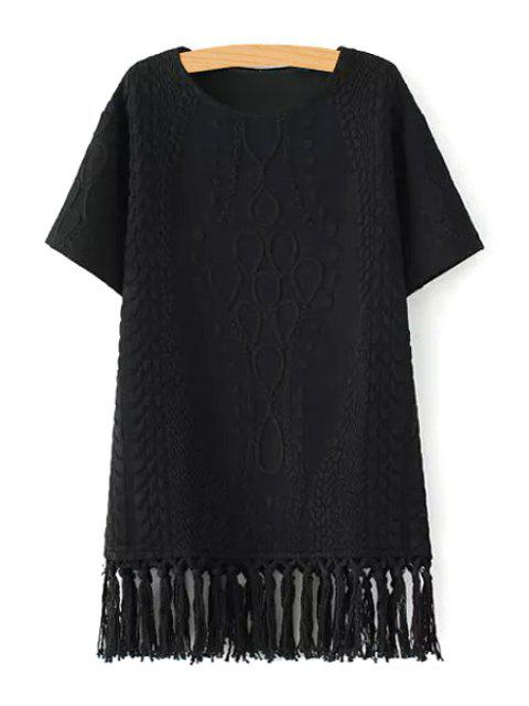 shop Short Sleeve Fringed Straight Dress - BLACK L Mobile
