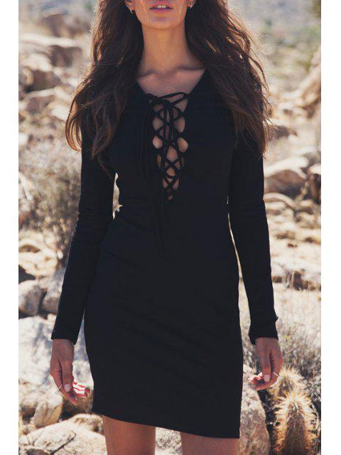 womens Lace-Up Bodycon Solid Color Long Sleeves Dress - BLACK XL Mobile
