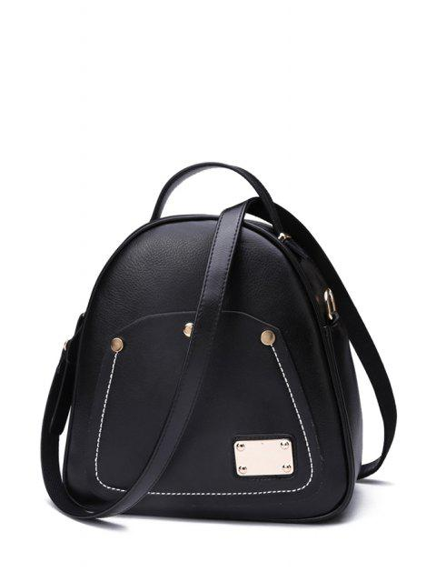 Metal color sólido Costura Satchel - Negro  Mobile