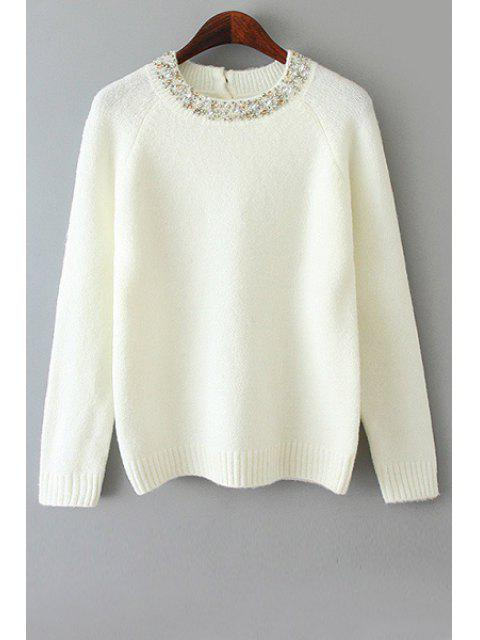 online Long Sleeve Beaded Sweater - WHITE ONE SIZE(FIT SIZE XS TO M) Mobile