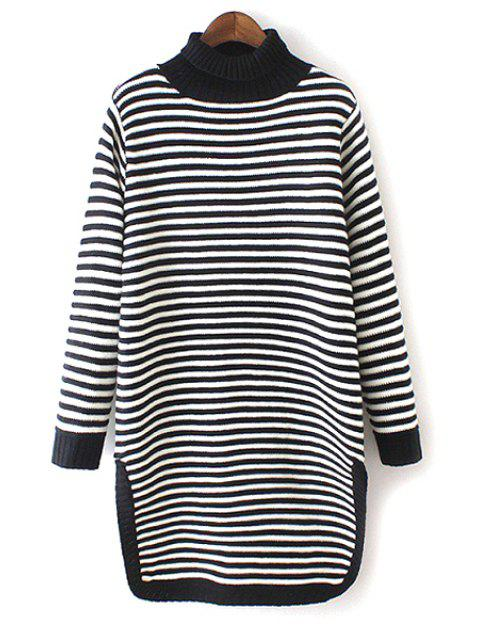 shop Turtle Neck Striped Side Slit Sweater - BLACK AND WHITE ONE SIZE(FIT SIZE XS TO M) Mobile