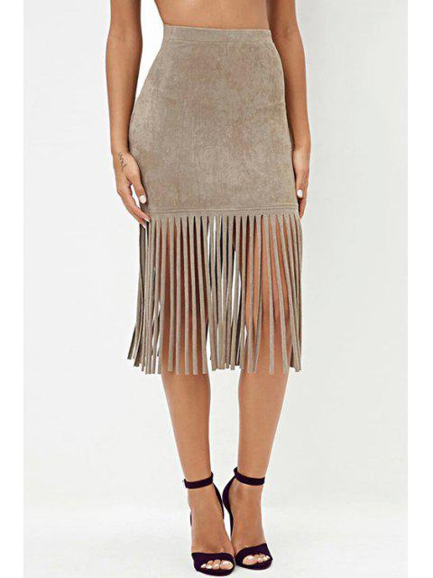 outfit High Waisted Tassels Solid Color Sexy Mini Skirt - KHAKI XS Mobile
