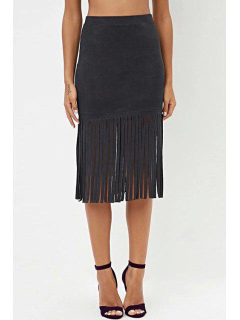 fancy High Waisted Tassels Solid Color Sexy Mini Skirt - BLACK M Mobile