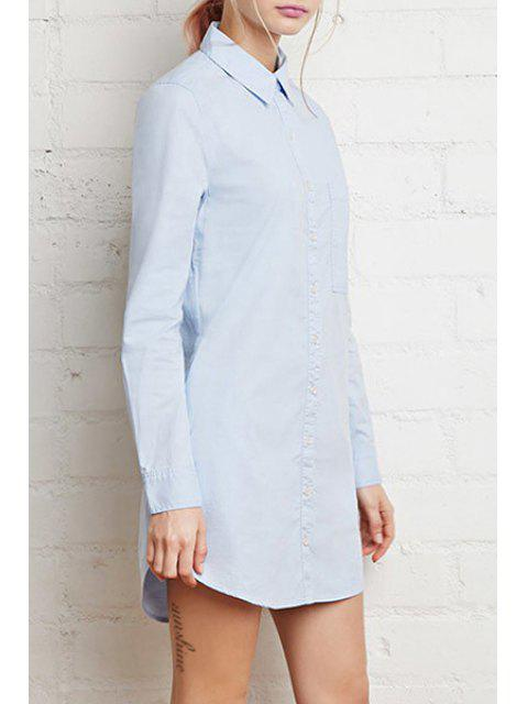 online Single-Breasted Long Sleeve Shirt Dress - BLUE 2XL Mobile