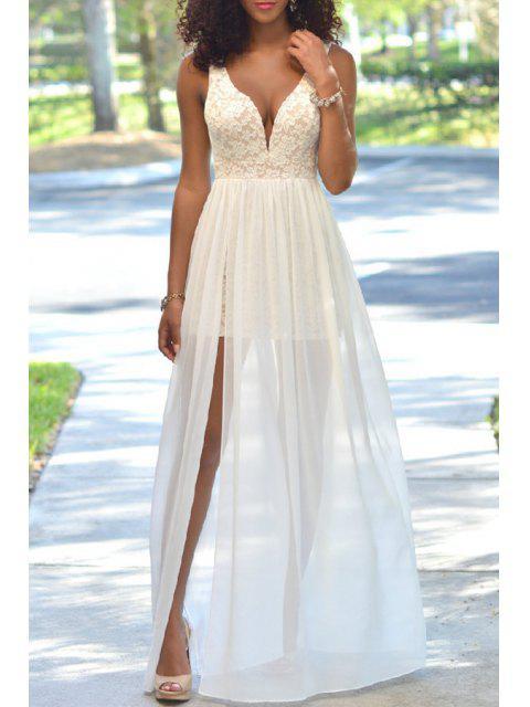 women Crochet Flower Mesh Overlap Lace Dress - WHITE M Mobile