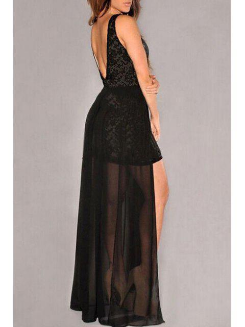 online Crochet Flower Mesh Overlap Lace Dress - BLACK L Mobile