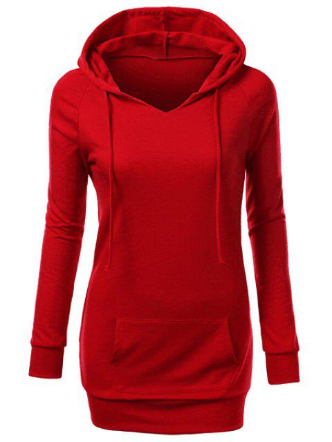 shop Hooded Front Pocket Pullover Hoodie - RED M Mobile