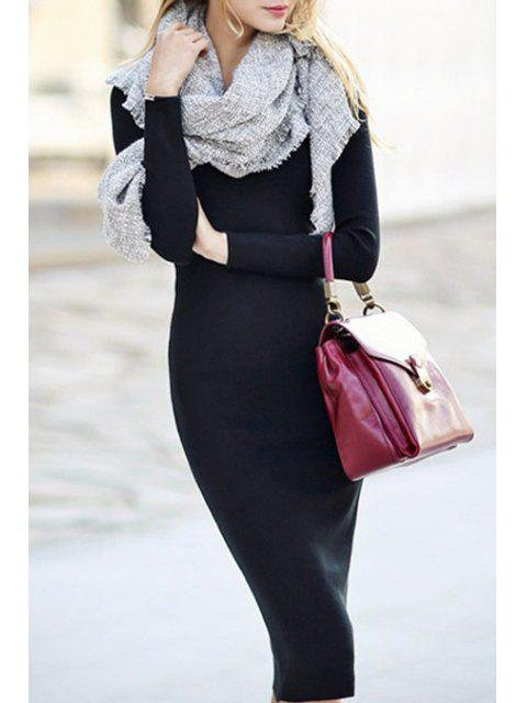 women Long Sleeve Black Bodycon Dress - BLACK ONE SIZE(FIT SIZE XS TO M) Mobile