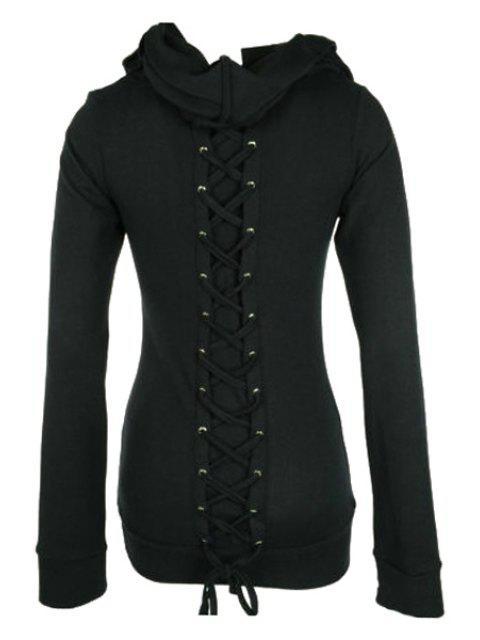 women Long Sleeve Lace-Up Black Hoohie - BLACK M Mobile