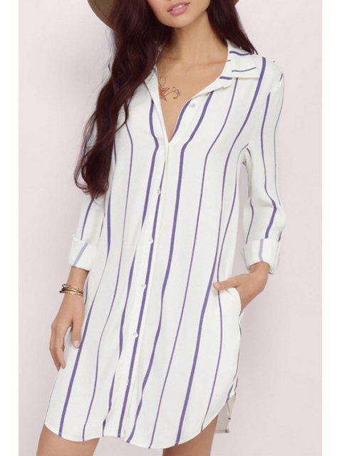 lady Striped Flat Collar Long Sleeves Shirt Dress - WHITE AND PURPLE 2XL Mobile