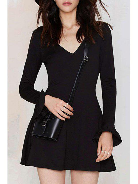 hot Solid Color V-Neck Butterfly Sleeves Dress - BLACK L Mobile