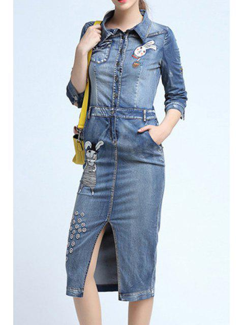 hot Cartoon Embroidery Front Slit Flat Collar Denim Dress - LIGHT BLUE XL Mobile