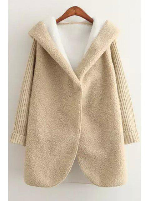 sale Hooded Long Sleeve Fleece Coat - YELLOW ONE SIZE(FIT SIZE XS TO M) Mobile