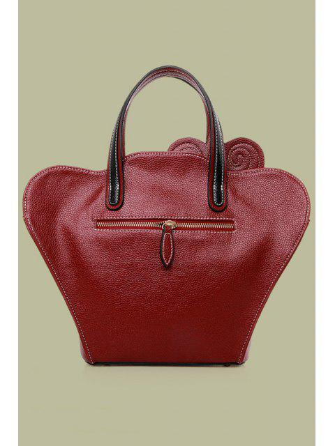 online Cheongsam Shape Color Matching Embossing Tote Bag - WINE RED  Mobile