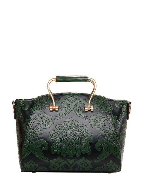 hot Floral Embossing Metal Tote Bag - GREEN  Mobile