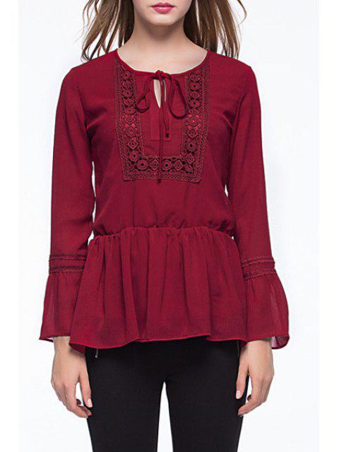 online Claret Jewel Neck Long Sleeve Blouse - CLARET XL Mobile