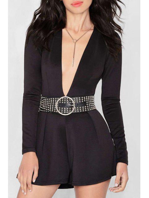 shop Black Plunging Neck Long Sleeve Playsuit - BLACK S Mobile