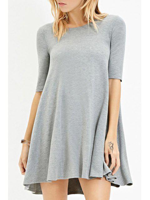 buy Solid Color Jewel Neck Half Sleeve Dress - GRAY M Mobile