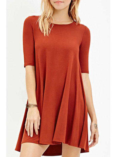 best Solid Color Jewel Neck Half Sleeve Dress - RED L Mobile