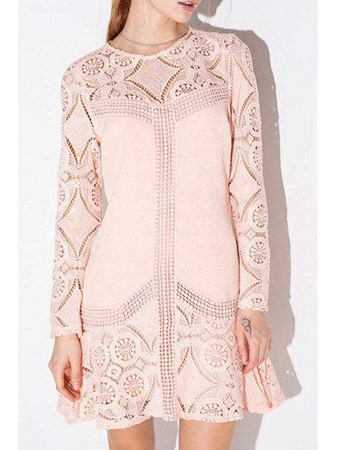 new Pink Long Sleeve Hollow Out Dress - PINK S Mobile