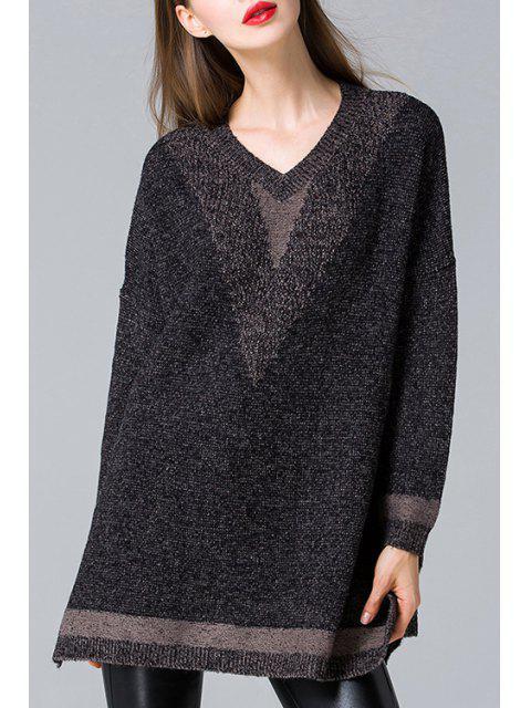 shops Side Slit V Neck Long Sleeve Jumper - BLACK ONE SIZE(FIT SIZE XS TO M) Mobile