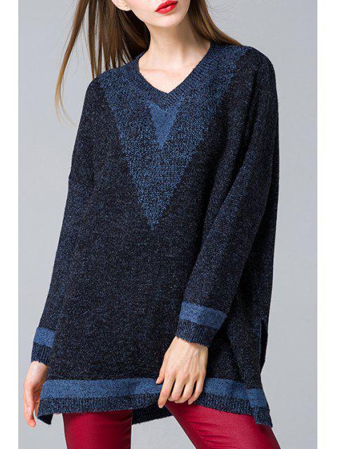 Side Slit V cuello jersey de manga larga - Azul Purpúreo Un tamaño(Montar tam Mobile