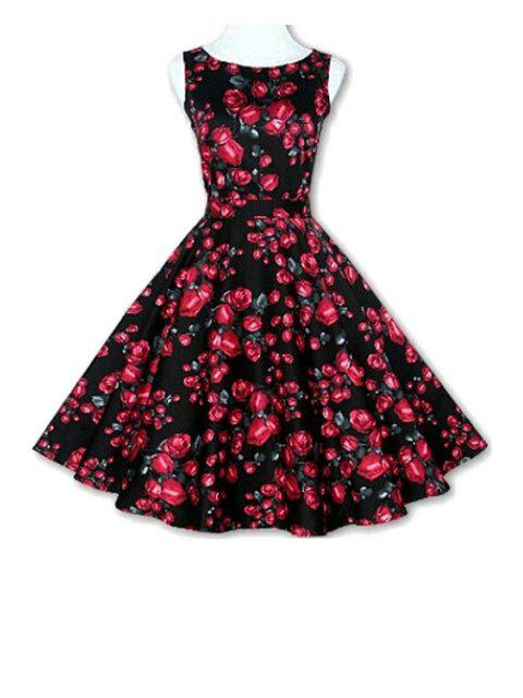 unique Floral Print A-Line Round Color Sleeveless Dress - BLACK XL Mobile