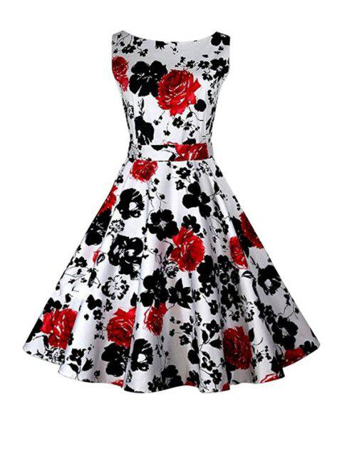 women Floral Print A-Line Round Color Sleeveless Dress - RED XL Mobile