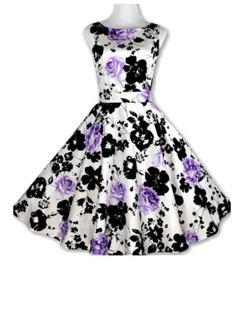 best Floral Print A-Line Round Color Sleeveless Dress - PURPLE L Mobile