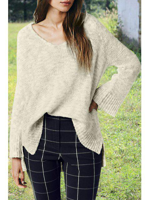 hot Multi Color V Neck Long Sleeve Jumper - WHITE ONE SIZE(FIT SIZE XS TO M) Mobile