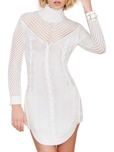 womens Turtle Neck Hollow Out Sweater Dress - WHITE M Mobile