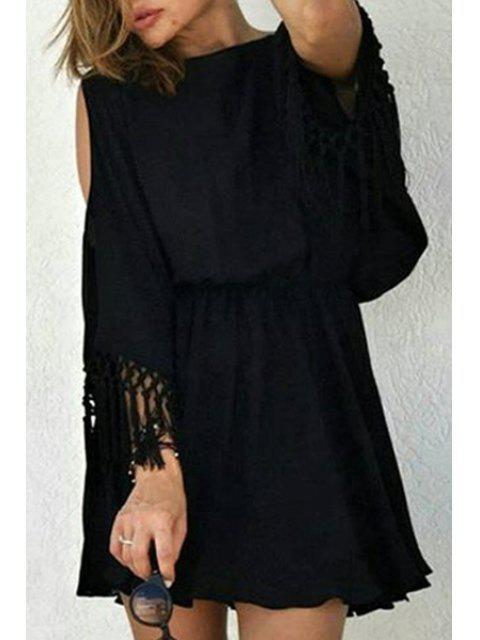 unique Cut Out Fringed Chiffon Dress - BLACK L Mobile
