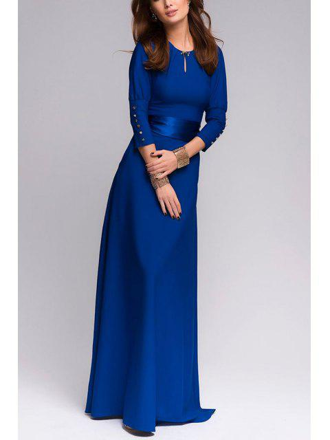 new Solid Color Cut Out 3/4 Sleeves Sashes Maxi Dress - SAPPHIRE BLUE M Mobile